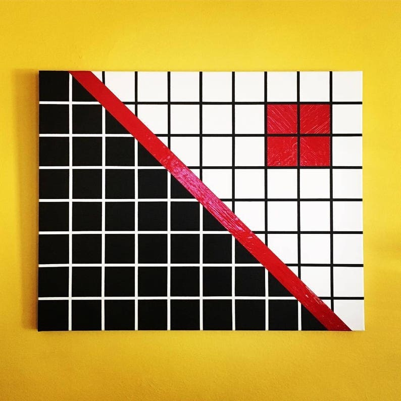 28x24 abstract painting  art decor white red black image 0