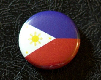"1"" Philippines flag button, country, pin, badge, pinback, Made in USA"