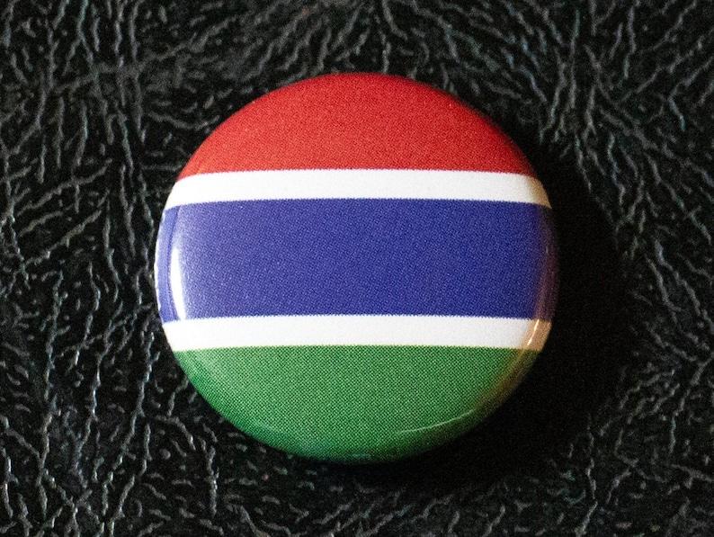 1 Gambia flag button pin badge pinback magnet image 0