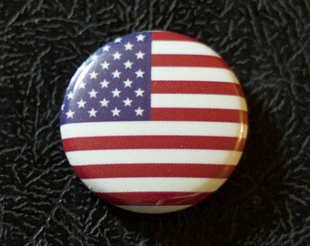 "1"" United States flag button, country, pin, badge, pinback, Made in USA"