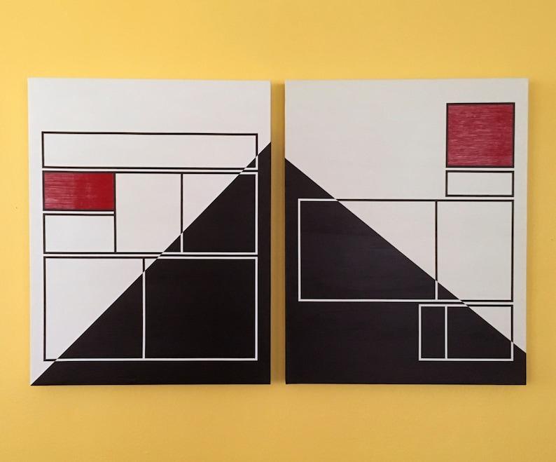 pair of 22x28 ORIGINAL abstract paintings  art decor image 0