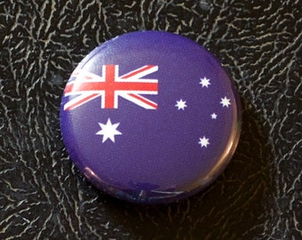 "1"" Australia flag button, country, pin, badge, pinback, Made in USA"