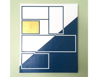"20x24"" abstract painting - art, decor, white, gold, blue"
