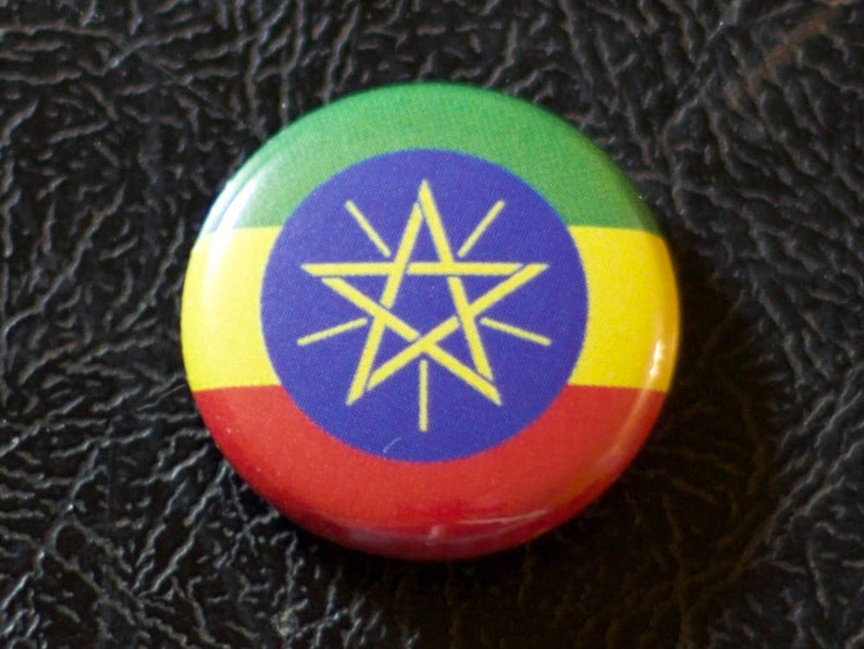 1 Ethiopia flag button pin badge pinback magnet image 0