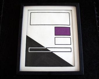 "10x12"" ORIGINAL abstract painting, ready to hang - art, decor, white, black, purple"