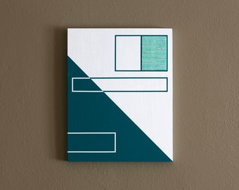 """11x14"""" ORIGINAL abstract painting, ready to hang - art, decor, white, dark teal, mint green"""