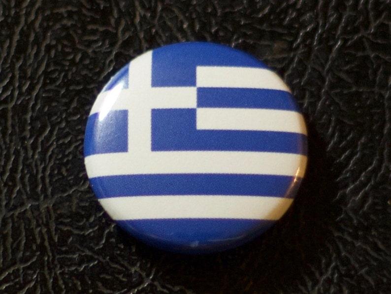 1 Greece flag button pin badge pinback magnet image 0
