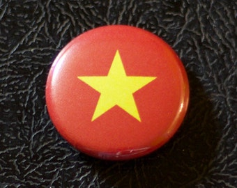"1"" Vietnam flag button, country, pin, badge, pinback, Made in USA"