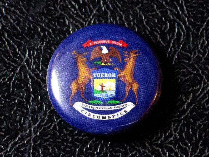 1 Michigan flag button pin badge pinback magnet image 0