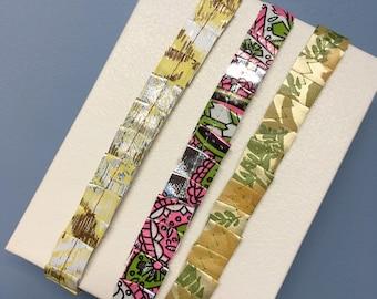 Vintage Wallpaper Ruffled Ribbon Roll   Junk Journal Embellishments   Gift Wrapping   Handmade