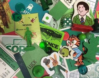 Vintage Game Pieces 40+, Collage, Altered Art, repurpose, reuse, Assemblage, Mixed Media, Green, Monochromatic