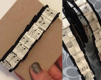 Vintage Sheet Music Ruffled Ribbon   Twill Tape Ribbon Roll   Junk Journal Embellishments   Gift Wrapping   Handmade