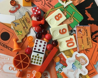 Vintage Game Pieces 40+, Collage, Altered Art, repurpose, reuse, Assemblage, Mixed Media, Orange, Monochromatic