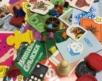 Vintage Game Pieces 60+, Collage, Altered Art, repurpose, reuse, Assemblage, Mixed Media, homeschool
