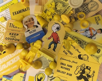 Vintage Game Pieces 40+, Collage, Altered Art, repurpose, reuse, Assemblage, Mixed Media, Yellow, Monochromatic
