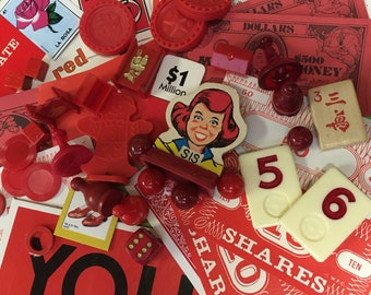 Vintage Game Pieces 40+, Collage, Altered Art, repurpose, reuse, Assemblage, Mixed Media, Red, Monochromatic