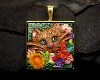 A Kitty Cat with Butterflies & Flowers Pendant or Bead handmade OOAK Polymer Clay Cameo Jewelry