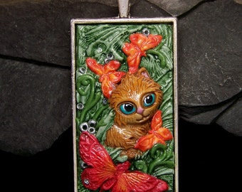 Cute Kitten with Butterflies Pendant or Bead handmade OOAK Polymer Clay and silver Cameo Jewelry