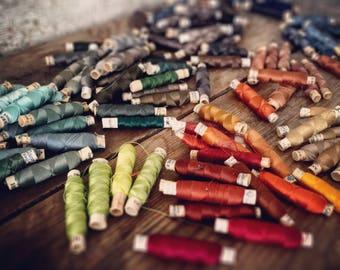 "VINTAGE — Gütermann ""Ideal-Seide"" genuine silk sewing thread from Germany — 50 m / 55 yds spools — unused (cont.)"