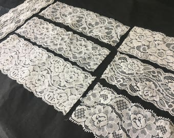 assortment of various smaller sheer lingerie tulle lace / mesh swatches — ivory (medium width)  — different sizes and patterns