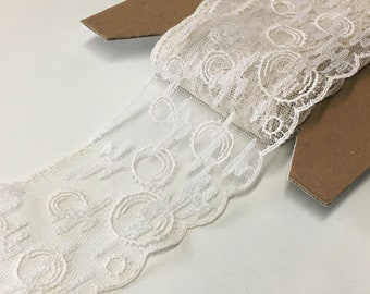"""3 m / 3.3 yds — VINTAGE / ANTIQUE french corded tulle lace trim — ivory — cotton / synthetic — 56 mm / 2 3/16"""" wide"""