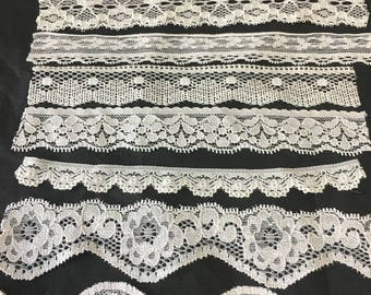 assortment of various smaller sheer lingerie tulle lace / mesh swatches — ivory (narrow)  — different sizes and patterns
