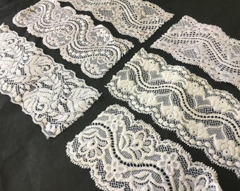 assortment of various smaller sheer lingerie tulle lace / mesh swatches — snow white (medium width)  — different sizes and patterns