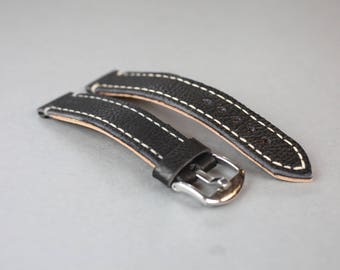 Classic Vintage  Leather Watch Strap, Black
