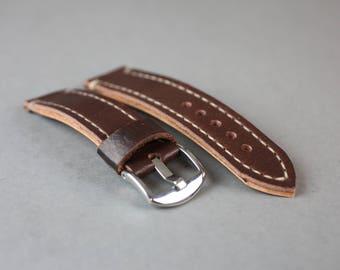 Classic Vintage  Leather Watch Strap, Dark Brown