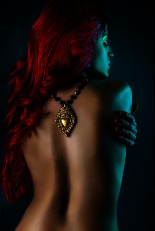 Golden Flaming Heart Necklace  Reliquiae image 0