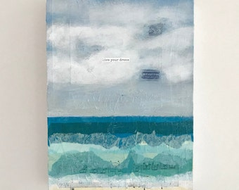 Charity Art, Live Your Dream, Inspirational Wall Art, Live Your Dream Wall Art, Inspirational Painting, Live Your Dream Quote, Ocean Art