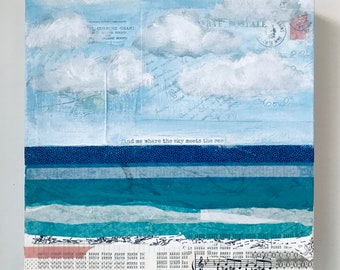 Art for Charity, Find Me Where the Sky Meets the Sea, Donation to Charity, Ocean Art, Charity Art, Original Painting, Seascape, Charity Gift