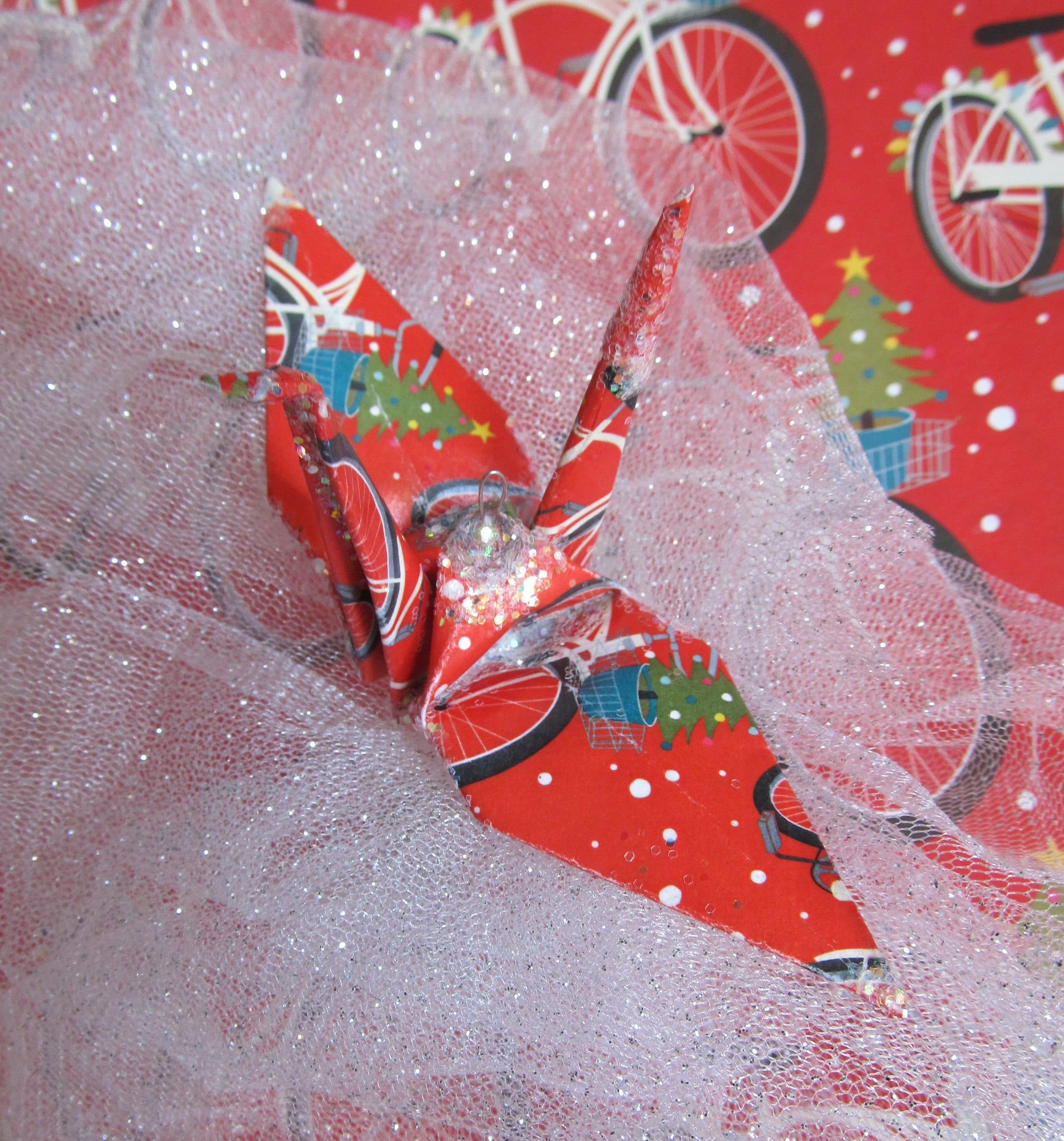 Christmas Bicycle Peace Crane Bird Wedding Cake Topper Party