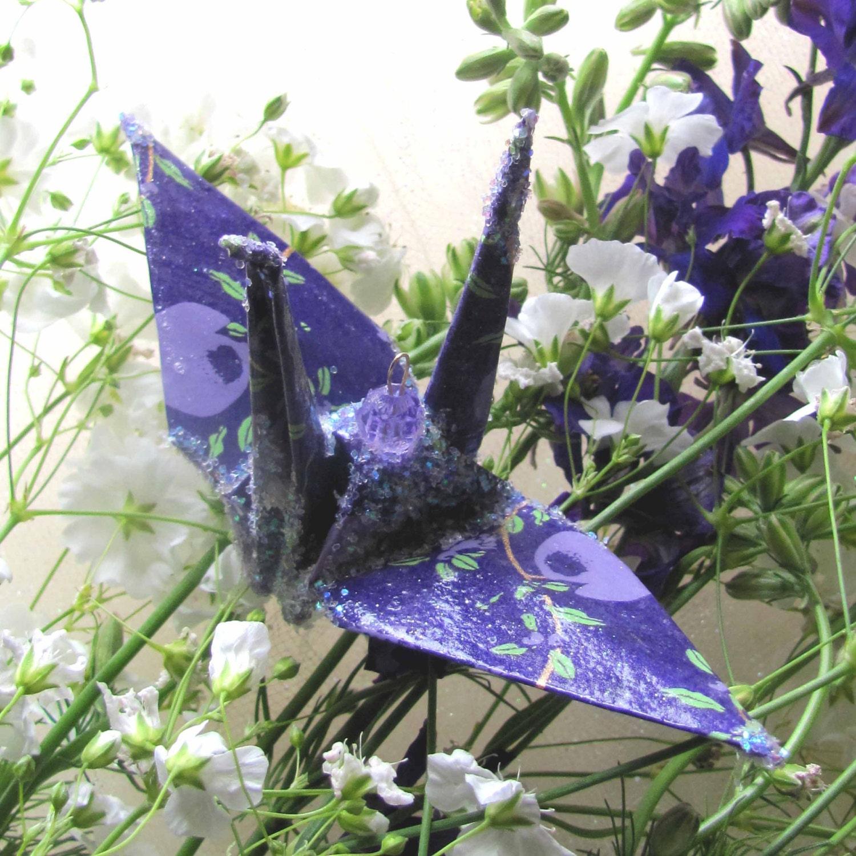 Purple Pomegranate Peace Crane Bird Wedding Cake Topper Etsy