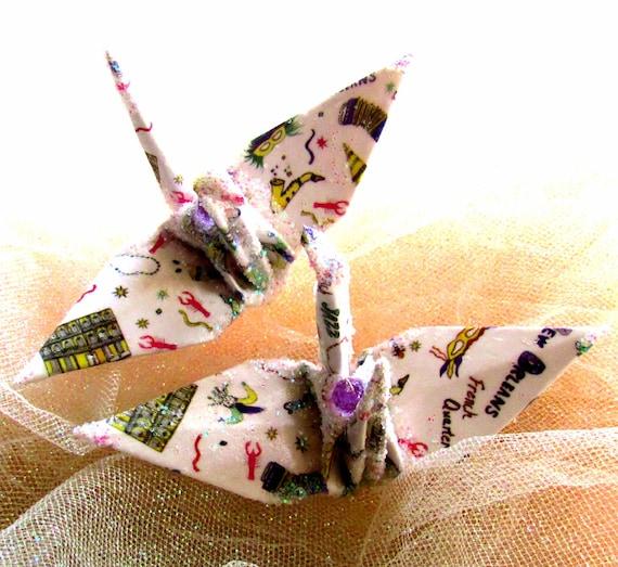 New Orleans Peace Crane Bird Wedding Cake Topper Party Favor Origami