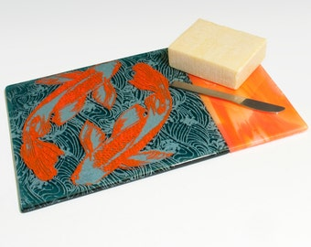 Koi Fused Glass Cheese Platter