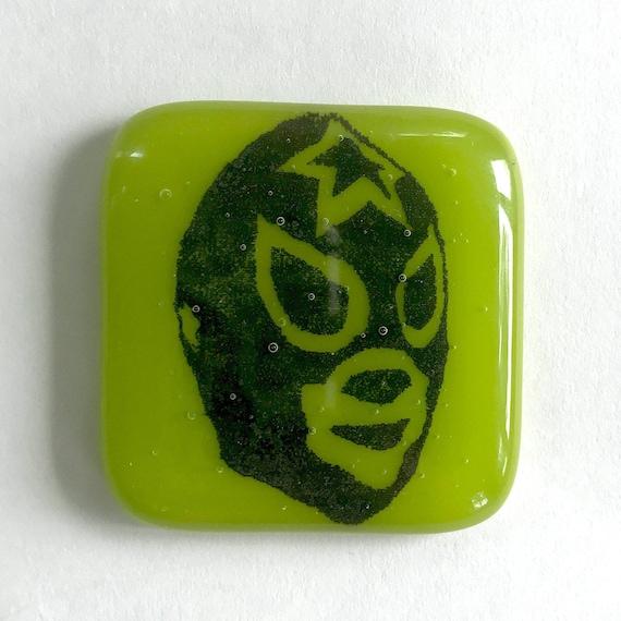 Black Printed Magnet Luchador Magnet Bright Green Glass Refrigerator Magnet Lucha Libre Fused Glass Magnet
