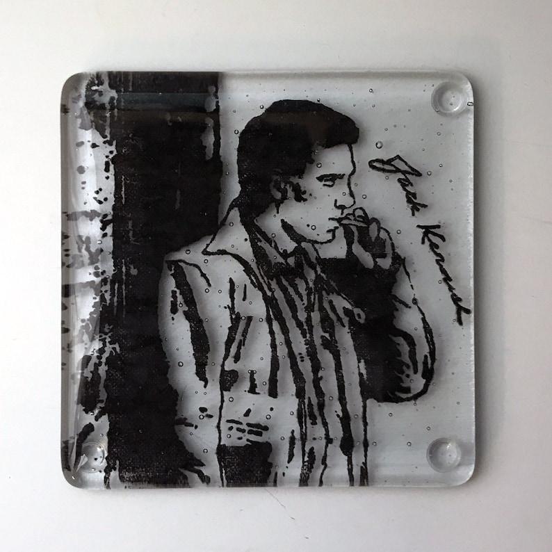 Icon Coaster Jack Kerouac Fused Glass Coaster Novelist Coaster