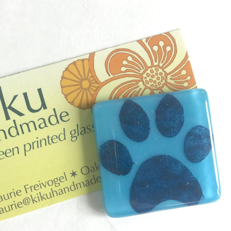 Paw Fused Glass Magnet Blue Printed Magnet Paw Print Magnet Cyan Glass Refrigerator Magnet
