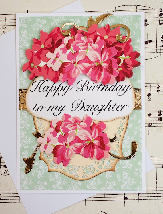 Daughter birthday card 3d birthday greeting card blank card etsy image 0 m4hsunfo