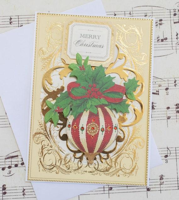 Elegant Handmade Christmas Ornaments.Elegant Christmas Ornament Card Handmade Christmas Card Christmas Gift For Friend Festive Christmas Card Blank Holiday Card