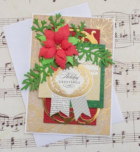 Christmas Greeting Cards Handmade.Poinsettia Holiday Greetings Card Handmade Christmas Card Blank Christmas Greeting Card For Her