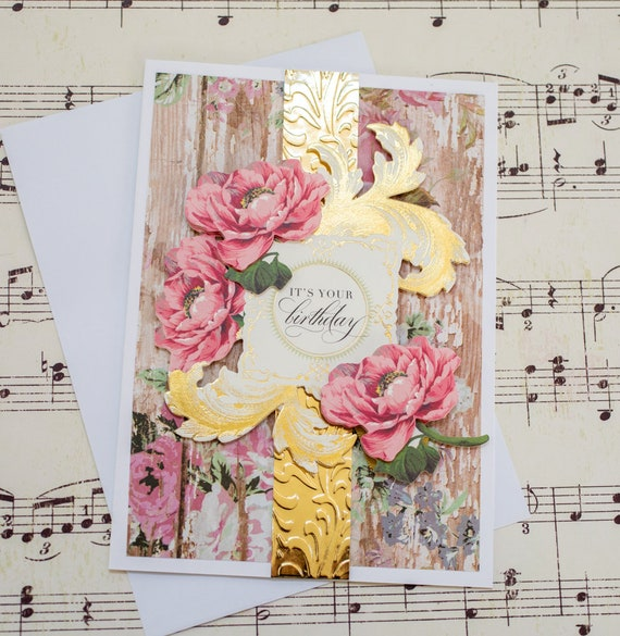 Elegant Birthday Greeting Card For Her Feminine Blank