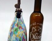 Lovely Rainbow Hand Blown Olive Oil Dispenser,Vinegar Cruet ,Bottle Pourer