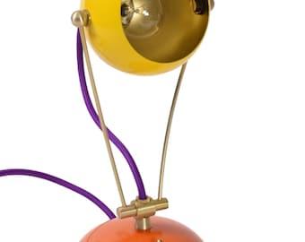 Medium Yellow and Orange Fiesta Table Desk Bedside Children's Lamp Handmade w Color Cord