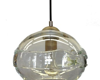 glass blown pendant lighting clear banded hand blown glass pendant light chandelier hanging lights pendant light etsy