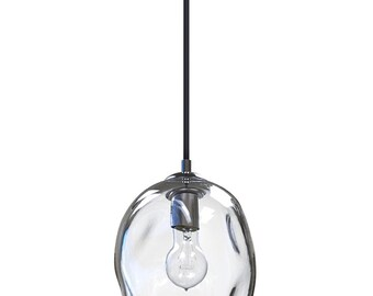 Hand blown lighting Colored Glass Clear River Rock Hand Blown Glass Pendant Light Lighting Glass Pendants And Chandeliers Notonthehighstreetcom Glass Pendant Light Etsy