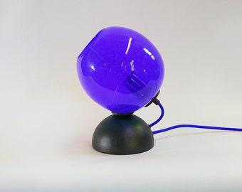 Hand Blown Glass Mod Pod Desk Table Lamp with Colored Cord Edison Bulb