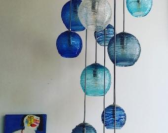 Cascading Entryway Chandelier. Spun Glass Stairway Lighting Fixture. Handmade Multi port Pendant Lights.