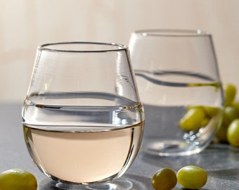Stemless Wine Glasses | Clear Hand Blown Glass Sets | Cocktail Bar Glasses | Made in USA